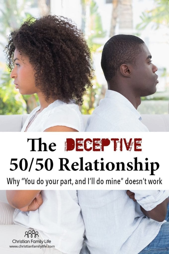 "A 50/50 relationship doesn't work in marriage. The deceptive ""you do you'll part and I'll do mine"" always falls short."